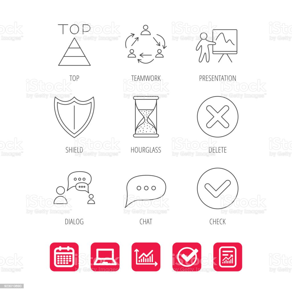teamwork presentation and dialog icons stock vector art 923010690