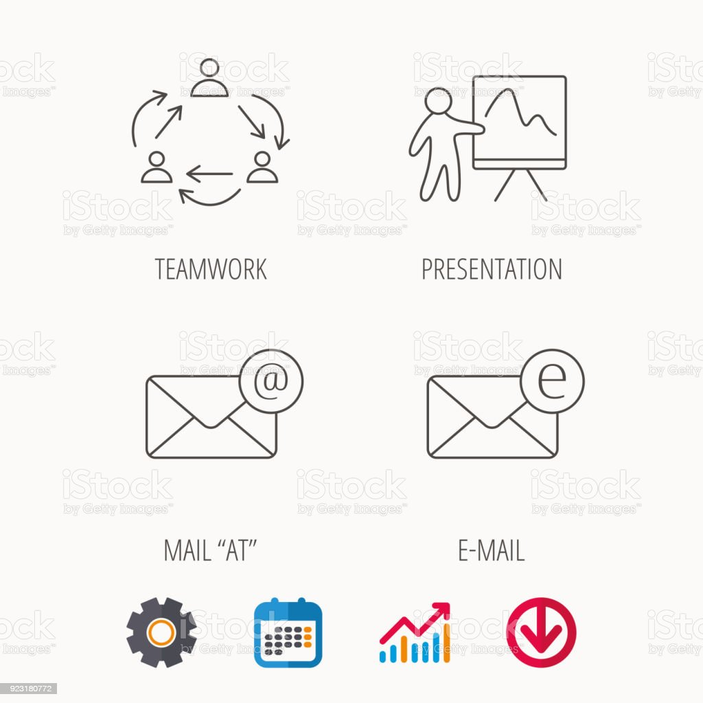 teamwork presentation and email icons stock vector art more images