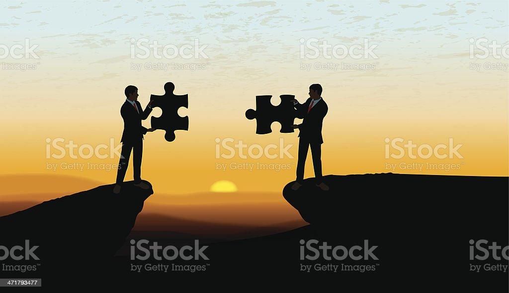 Teamwork, Problem Solving, Solution Background vector art illustration