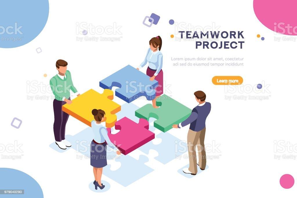Teamarbeit-Projekt-Illustration – Vektorgrafik