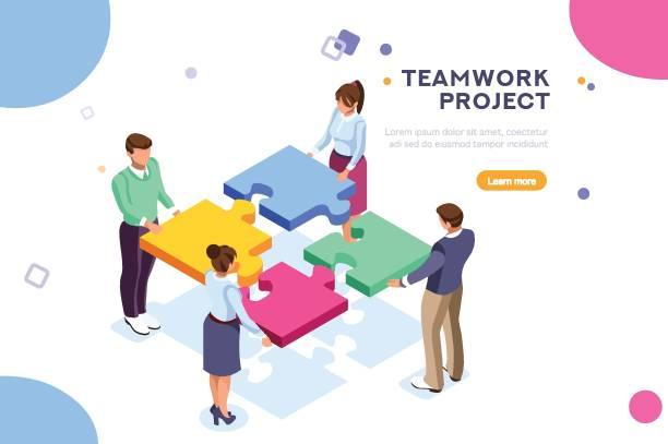 illustrazioni stock, clip art, cartoni animati e icone di tendenza di teamwork project illustration - facilità