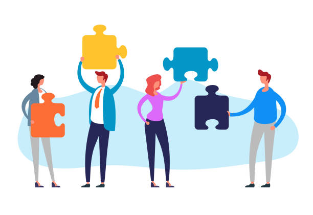 Teamwork puzzle management concept. Vector flat cartoon graphic design illustration vector art illustration