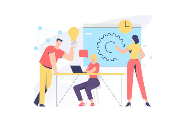 illustrations, cliparts, dessins animés et icônes de concept d'illustration vectorielle lié au travail d'équipe pour l'application et le développement de sites web - entrepreneur