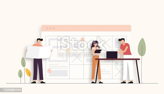 istock Teamwork Related Vector Illustration. Flat Modern Design 1200695104