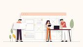 Teamwork Related Vector Illustration. Flat Modern Design for Web Page, Banner, Presentation etc.