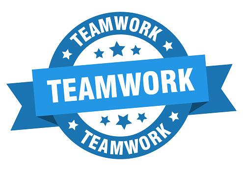 teamwork round ribbon isolated label. teamwork sign