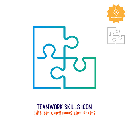 Teamwork skills vector icon illustration for logo, emblem or symbol use. Part of continuous one line minimalistic drawing series. Design elements with editable gradient stroke line.