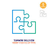 istock Teamwork Skills Continuous Line Editable Stroke Line 1251101106