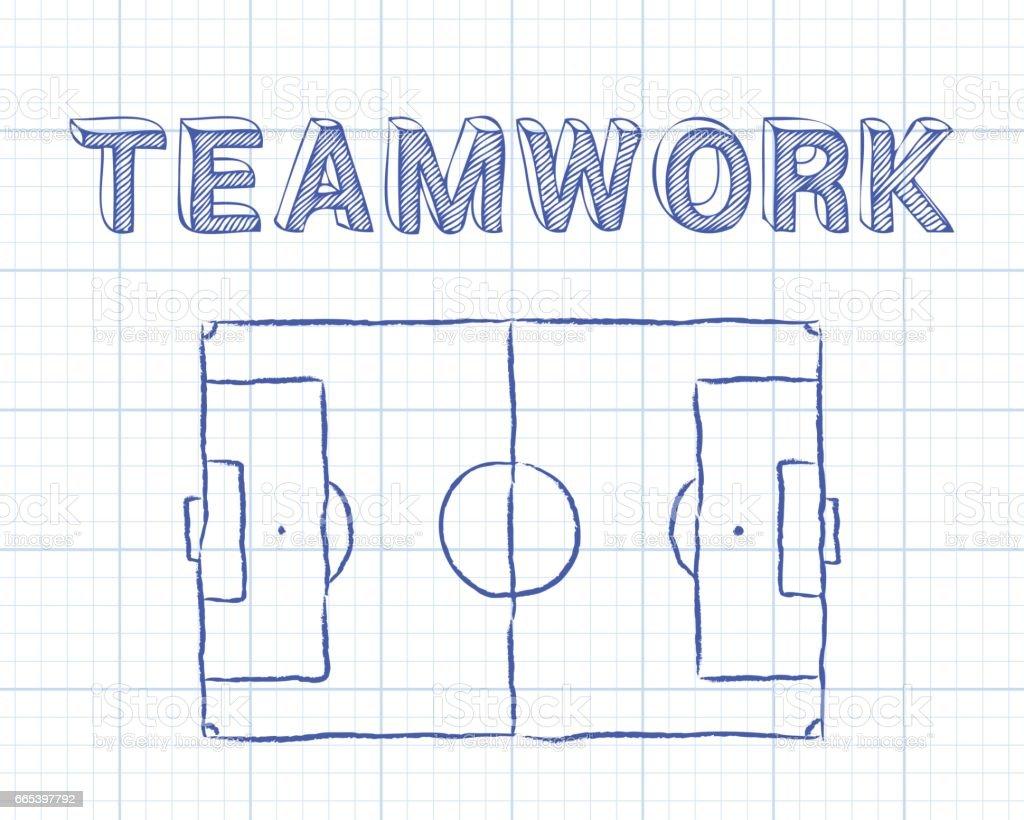 Teamwork Soccer Pitch Graph Paper Vektor Illustration 665397792 | iStock
