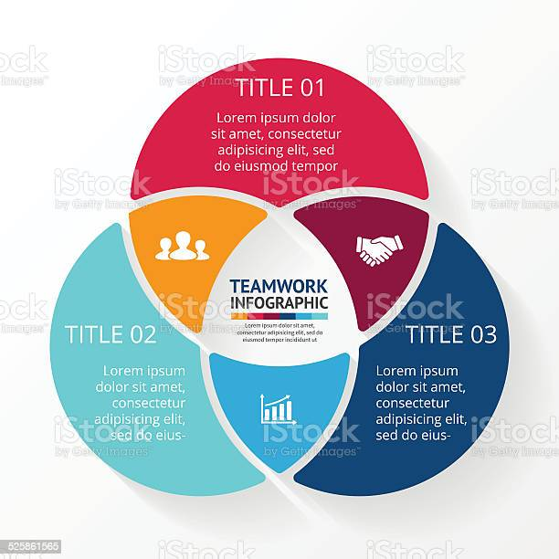 Teamwork Social Infographic Diagram Presentation 3 Options Stock Illustration - Download Image Now