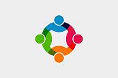 チームワークの社会的ネットワークのアイコン。ベクトル図