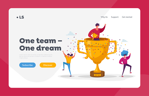 Teamwork Success Landing Page Template. Cheerful People Characters Celebrate Win Laughing with Hands Up around of Huge Gold Cup with Man Sitting inside. Joyful Colleagues. Cartoon Vector Illustration