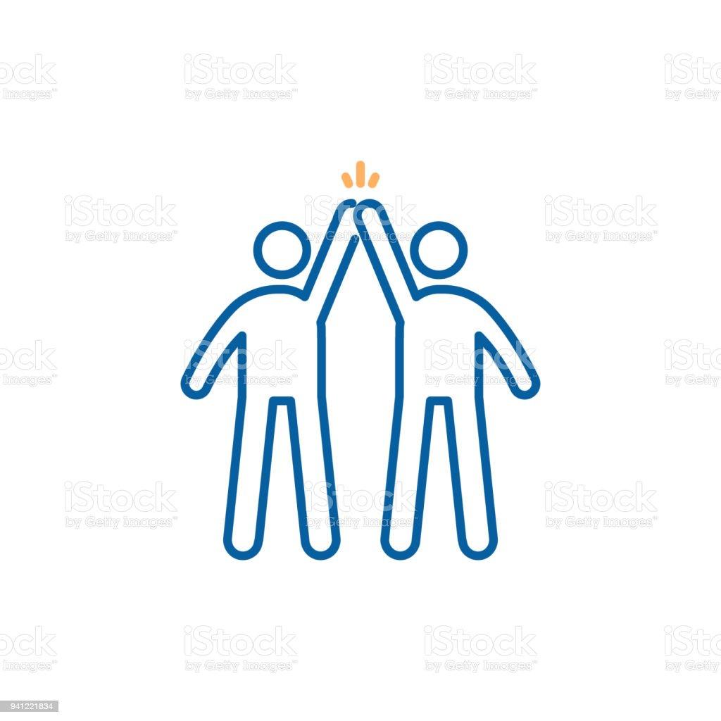 Éxito de trabajo en equipo. Socios oscuro alta entre si después de éxito. Diseño de ilustración vectorial moda delgada línea icono - arte vectorial de Adulto libre de derechos