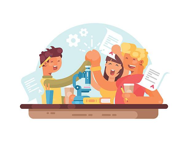 teamwork, successful students - hochschulgetränke stock-grafiken, -clipart, -cartoons und -symbole