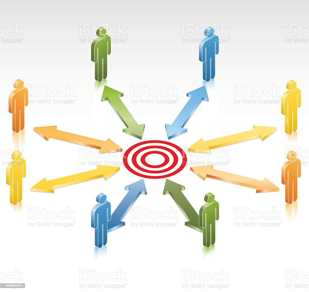 Teamwork Target vector art illustration