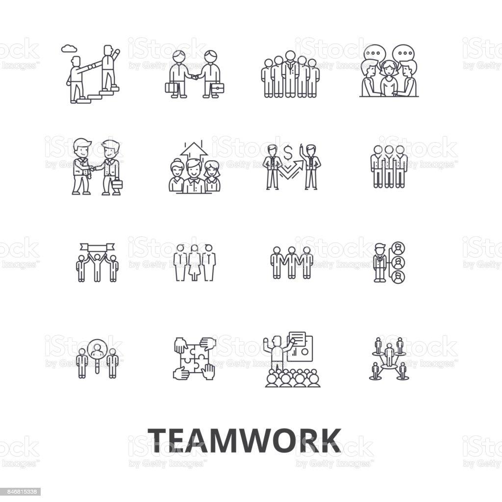 Teamwork, team, concept, working together, collaboration, success, partnership line icons. Editable strokes. Flat design vector illustration symbol concept. Linear signs isolated vector art illustration