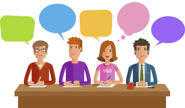 illustrazioni stock, clip art, cartoni animati e icone di tendenza di teamwork, team work. business, education, public opinion, conference concept. vector flat illustration - focus group