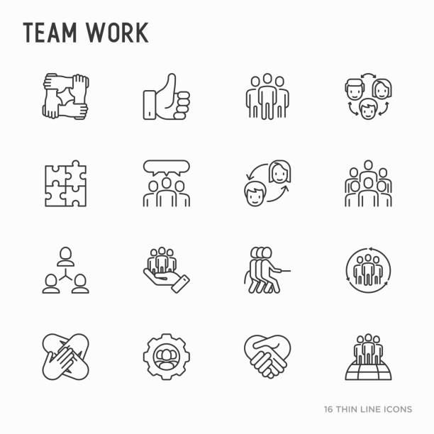 팀웍 얇은 라인 아이콘 세트: 사람들, 상호 지원, 회의 악수, 줄다리기, 협력, 퍼즐, 팀 정신, 협력의 그룹. 현대 벡터 일러스트입니다. - 사교모임 stock illustrations
