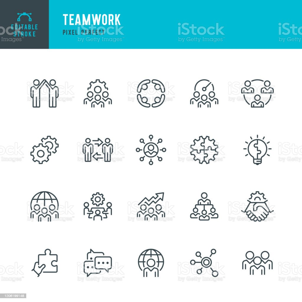 Teamwork - thin line vector icon set. Pixel perfect. Editable stroke. The set contains icons: Teamwork, Partnership, Cooperation, Group Of People, Corporate Business, Community, Brainstorming, Employee, Idea. - Royalty-free Acordo arte vetorial