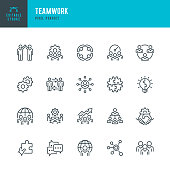 Teamwork - thin line vector icon set. 20 linear icon. Pixel perfect. Editable stroke. The set contains icons: Teamwork, Partnership, Cooperation, Group Of People, Corporate Business, Brainstorming, Community, Employee, Idea.
