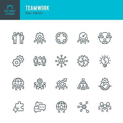 Teamwork Thin Line Vector Icon Set Pixel Perfect Editable Stroke The Set Contains Icons Teamwork Partnership Cooperation Group Of People Corporate Business Community Brainstorming Employee Idea - Arte vetorial de stock e mais imagens de Acordo