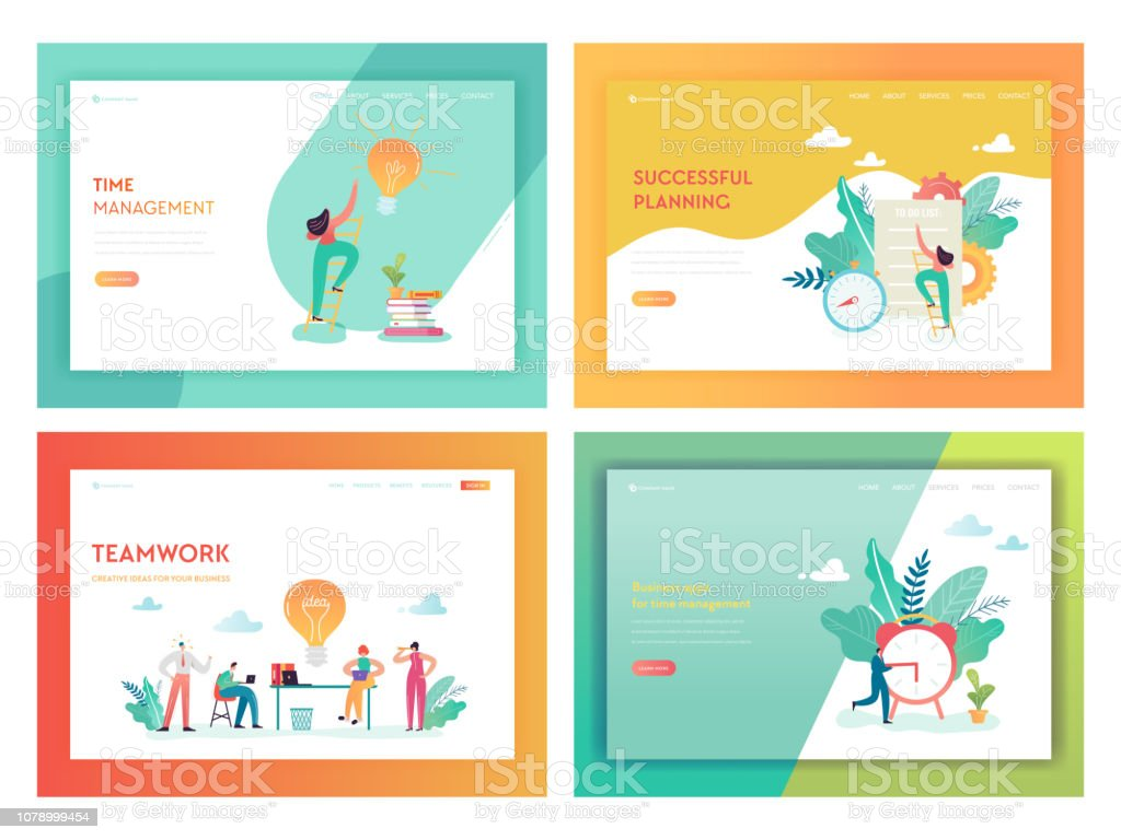 Teamwork Time Management Landing Page Template Business Planning Strategy Concept With Characters Working On Creative Idea For Website Or Web Page Vector Illustration Stock Illustration Download Image Now Istock