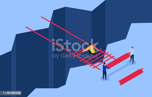 Teamwork to build a ladder through the cliff