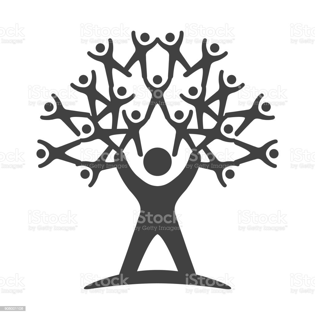 Árbol del trabajo en equipo - ilustración - ilustración de arte vectorial