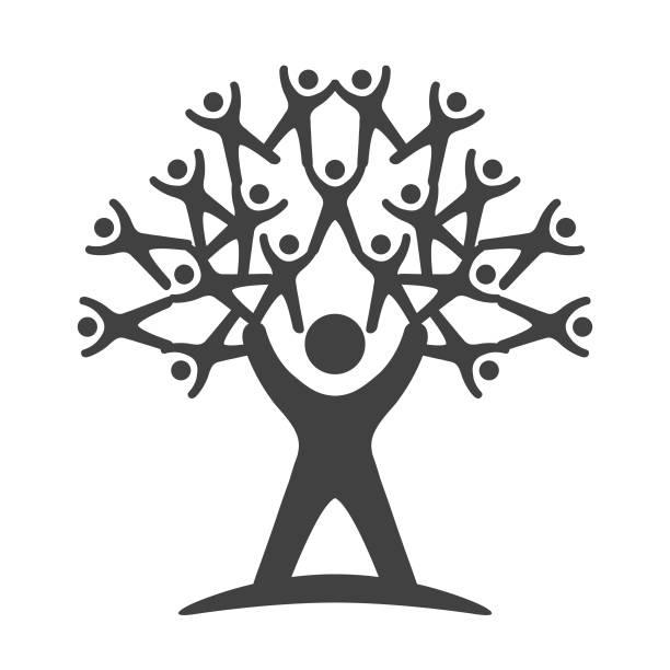 teamarbeit-baum - darstellung - stammbäume stock-grafiken, -clipart, -cartoons und -symbole