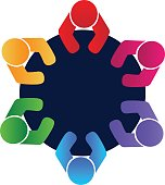 Teamwork union business icon vector .Workers and employees in a meeting