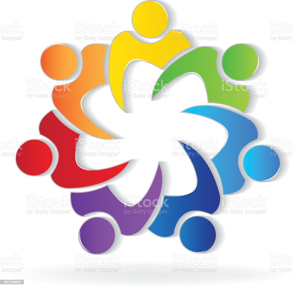 Teamwork union people image id card vector art illustration
