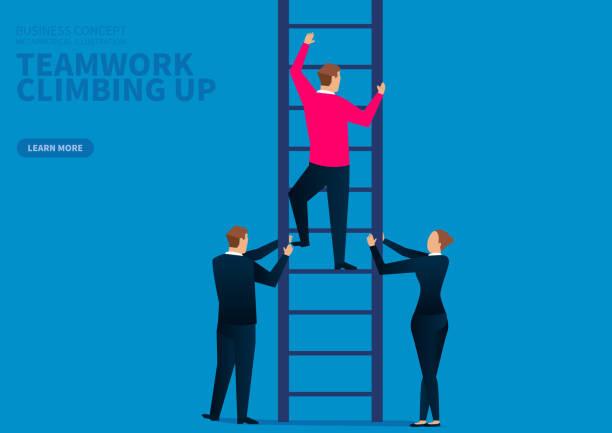 teamwork upward climb, team development - stopnie do sukcesu stock illustrations