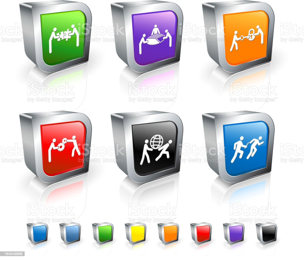 Teamwork Vector Icons 3D Vector Icon set with Metal Rim royalty-free teamwork vector icons 3d vector icon set with metal rim stock vector art & more images of a helping hand