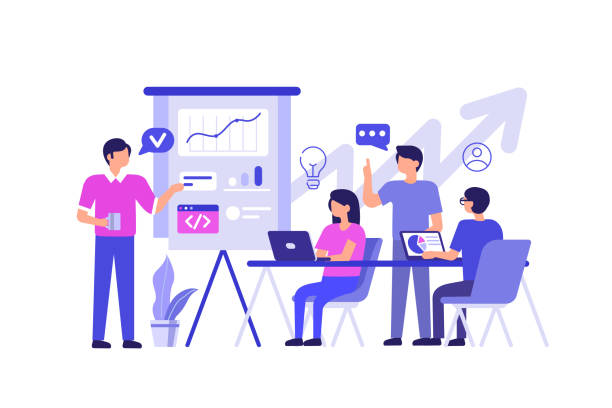 ilustrações, clipart, desenhos animados e ícones de trabalho em equipe  - startup