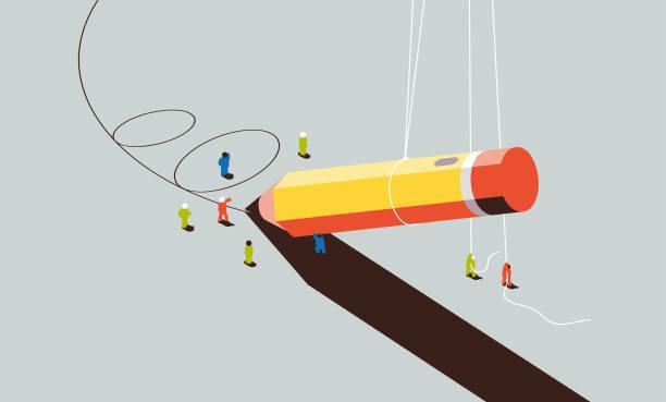 ilustrações de stock, clip art, desenhos animados e ícones de teamwork - writing ideas