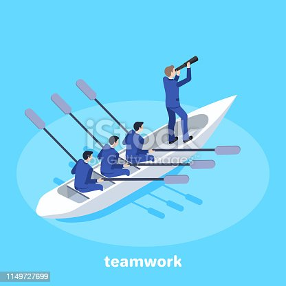 isometric illustration on business subjects, people in business suits are swimming on a boat, teamwork and personnel management