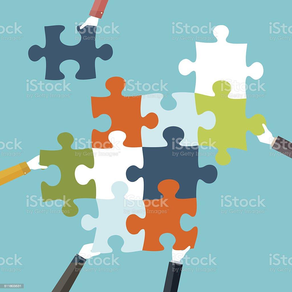 teamwork vector art illustration