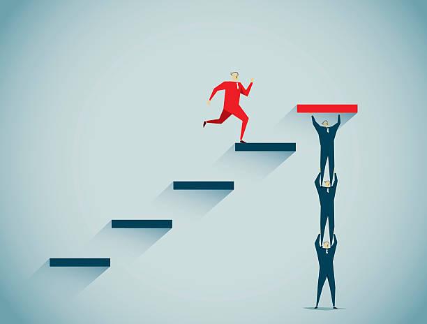teamwork (teamarbeit)  - treppe stock-grafiken, -clipart, -cartoons und -symbole