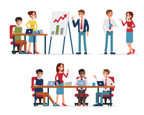 teamwork - office job stock illustrations, clip art, cartoons, & icons