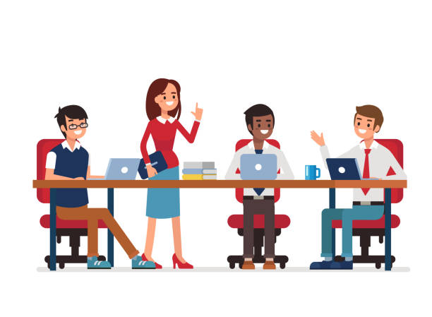 teamwork Business teamwork. Office work occupation moments. Flat style vector illustration isolated on white background. coworker stock illustrations