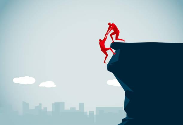 ilustrações, clipart, desenhos animados e ícones de trabalho em equipe  - escalada em rocha
