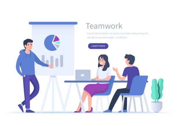 ilustrações de stock, clip art, desenhos animados e ícones de teamwork - business meeting