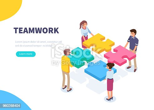 Teamwork concept banner. Can use for web banner, infographics, hero images. Flat isometric vector illustration isolated on white background.