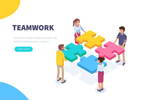 Teamwork - Arte vetorial de stock e mais imagens de Adulto