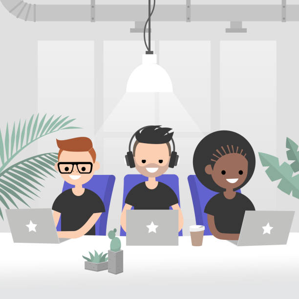 illustrazioni stock, clip art, cartoni animati e icone di tendenza di teamwork, vector illustration. a group of young adults working in the modern open space office. creative industry startup. flat 2.0 vector, clip art. - gen z