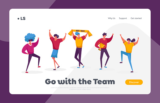 Teamwork, Victory Landing Page Template. Successful Business Team Characters Stand in Row Posing with Winners Trophies Celebrating Victory Successful Project. Cartoon People Vector Illustration