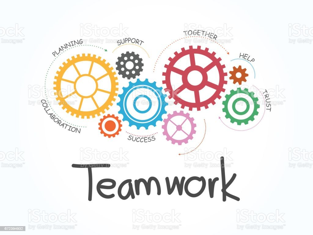 Teamwork With Gear Concept Infographic Template Vector Illustration ...