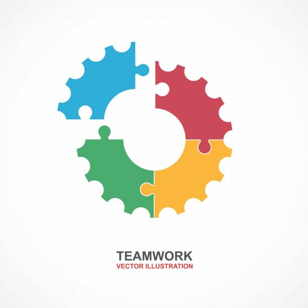 Teamwork with gear concept. Infographic Template. Vector Illustration. vector art illustration
