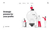 Teamworking and Searching Idea Website Landing Page. Business Team Search Insight for Project Development Stand at Huge Turned Off Light Bulb with Plug Web Page Banner Cartoon Flat Vector Illustration