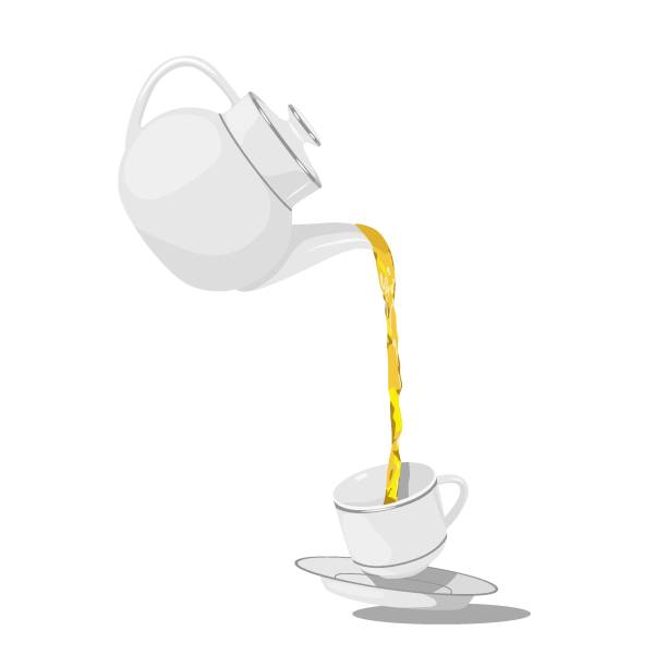 Teapot and cup vector illustration Pouring tea cup with tea or coffee. Teapot and cup isolated on white background. Flat vector illustration teapot stock illustrations